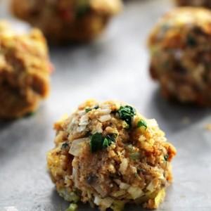 mushroom onion leek stuffingballs